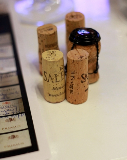 five wine cork stoppers