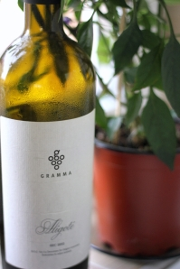 sticla de vin si ghiveci de flori