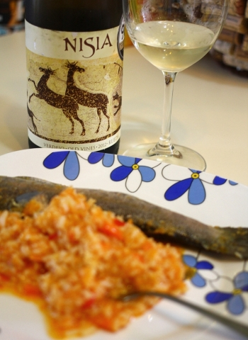 Spanish wine with trout and risotto