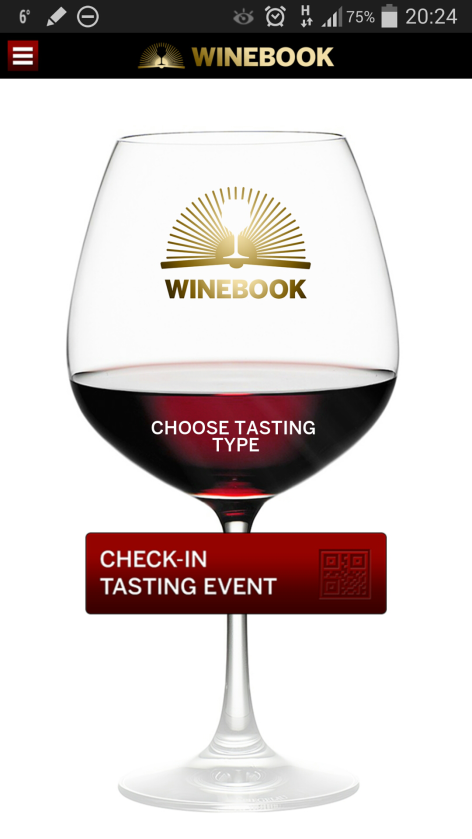 Winebook home screen